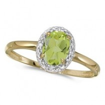 Peridot and Diamond Cocktail Ring in 14K Yellow Gold (0.95ct)