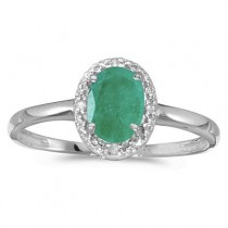 Emerald and Diamond Cocktail Ring in 14K White Gold (0.75ct)|escape