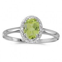 Peridot and Diamond Cocktail Ring in 14K White Gold (0.95ct)