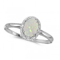 Oval Opal and Diamond Cocktail Ring in 14K White Gold (0.46ct)