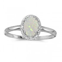 Oval Opal and Diamond Cocktail Ring in 14K White Gold (0.46ct)|escape