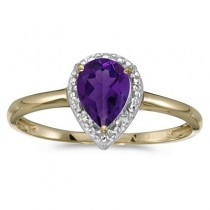 Pear Shape Amethyst and Diamond Cocktail Ring 14k Yellow Gold