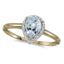 Pear Shape Aquamarine and Diamond Cocktail Ring 14k Yellow Gold