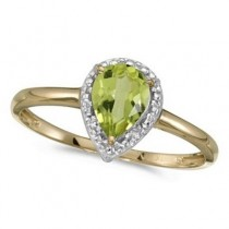 Pear Shape Peridot and Diamond Cocktail Ring 14k Yellow Gold