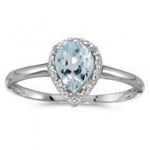 Pear Shape Aquamarine and Diamond Cocktail Ring 14k White Gold