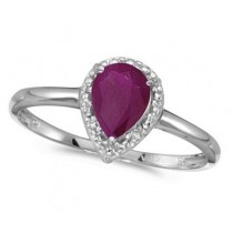 Pear Shape Ruby and Diamond Cocktail Ring 14k White Gold