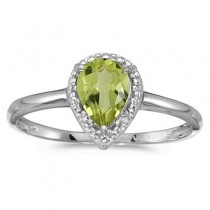 Pear Shape Peridot and Diamond Cocktail Ring 14k White Gold