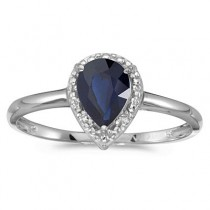 Pear Shape Blue Sapphire and Diamond Cocktail Ring 14k White Gold|escape