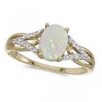 Oval Opal and Diamond Cocktail Ring 14K Yellow Gold (0.70ct)