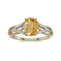 Oval Citrine and Diamond Cocktail Ring 14K Yellow Gold (1.20tcw)
