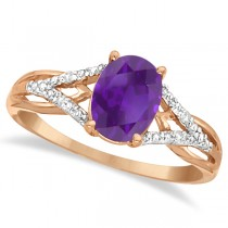 Oval Amethyst and Diamond Cocktail Ring 14K Rose Gold (1.20 ctw)