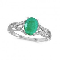 Oval Emerald and Diamond Cocktail Ring 14K White Gold (1.12tcw)