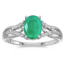 Oval Emerald and Diamond Cocktail Ring 14K White Gold (1.12tcw)|escape