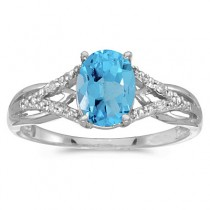 Oval Blue Topaz and Diamond Cocktail Ring 14K White Gold (1.62tcw)