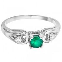 Emerald & Diamond Accented Anniversary Ring 14k White Gold (0.35ct)