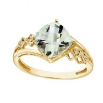 Cushion Cut Green Amethyst & Diamond Cocktail Ring 14k Yellow Gold (8mm)