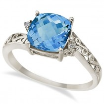 Blue Topaz & Diamond Filigree Vintage Ring 14k White Gold (3.02ct)