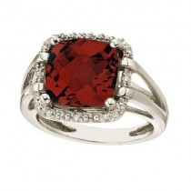 Cushion-Cut Garnet & Diamond Cocktail Ring 14k White Gold (8.05cttw)
