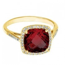 Cushion -Cut Garnet & Diamond Cocktail Ring 14k Yellow Gold (3.70cttw)