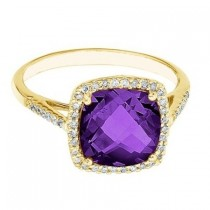 Cushion-Cut Amethyst & Diamond Cocktail Ring 14k Yellow Gold (3.70ct)
