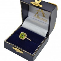 Cushion-Cut Peridot & Diamond Cocktail Ring 14k Yellow Gold (3.70cttw)