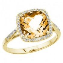 Cushion Cut Citrine & Diamond Cocktail Ring 14k Yellow Gold (3.70cttw)