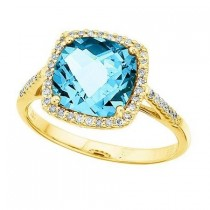 Cushion-Cut Blue Topaz & Diamond Cocktail Ring 14k Yellow Gold (3.7ct)