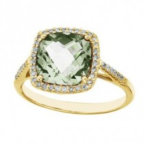 Cushion Green Amethyst & Diamond Cocktail Ring 14k Yellow Gold (3.70ct)