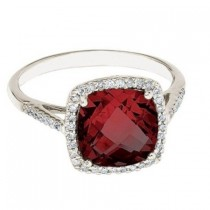 Cushion -Cut Garnet & Diamond Cocktail Ring 14k White Gold (3.70cttw)|escape