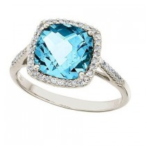 Cushion-Cut Blue Topaz & Diamond Cocktail Ring 14k White Gold (3.70ct)