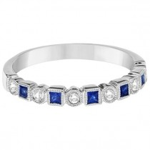 Princess Cut Blue Sapphire & Diamond Ring Band 14k White Gold (0.40ct)|escape