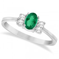 Solitaire Oval Green Emerald & Diamond Ring 14K White Gold (0.72ct)