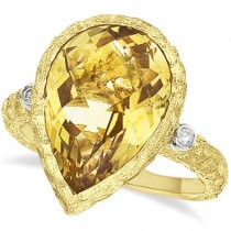 Pear Citrine & Diamond Vintage Cocktail Ring 14k Yellow Gold (6.30ct)