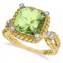 Cushion-Cut Green Amethyst Rope Cocktail Ring 14k Yellow Gold (4.35ct)