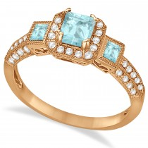 Aquamarine & Diamond Engagement Ring in 14k Rose Gold (1.35ctw)