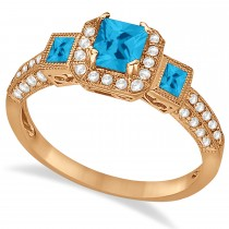 Blue Topaz & Diamond Engagement Ring in 14k Rose Gold (1.35ctw)