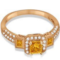 Citrine & Diamond Engagement Ring in 14k Rose Gold (1.35ctw)