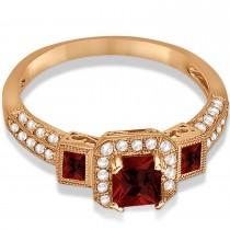Garnet & Diamond Engagement Ring in 14k Rose Gold (1.35ctw)