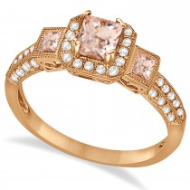 Morganite & Diamond Engagement Ring in 14k Rose Gold (1.35ctw)