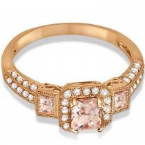 Morganite & Diamond Engagement Ring in 14k Rose Gold (1.35ctw)