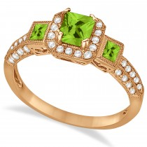 Peridot & Diamond Engagement Ring in 14k Rose Gold (1.35ctw)