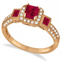 Ruby & Diamond Engagement Ring in 14k Rose Gold (1.35ctw)