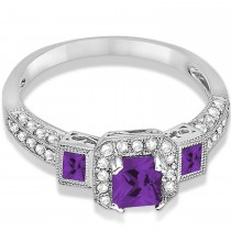 Amethyst & Diamond Engagement Ring 14k White Gold (1.35ctw)|escape