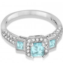 Aquamarine & Diamond Engagement Ring in 14k White Gold (1.35ctw)