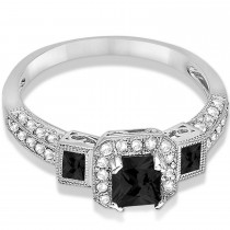 Black Diamond & Diamond Engagement Ring 14k White Gold (1.35ctw)|escape