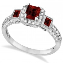 Garnet & Diamond Engagement Ring 14k White Gold (1.35ctw)