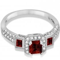 Garnet & Diamond Engagement Ring 14k White Gold (1.35ctw)
