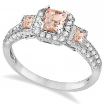 Morganite & Diamond Engagement Ring 14k White Gold (1.35ctw)