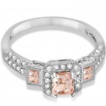 Morganite & Diamond Engagement Ring 14k White Gold (1.35ctw)