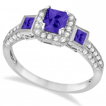 Tanzanite & Diamond Engagement Ring 14k White Gold (1.35ctw)